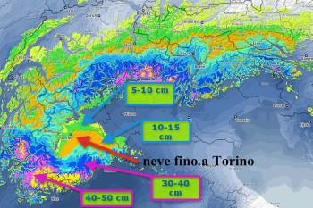 Rischio neve su Torino e Nord Ovest tra stasera e domattina – Dettagli.