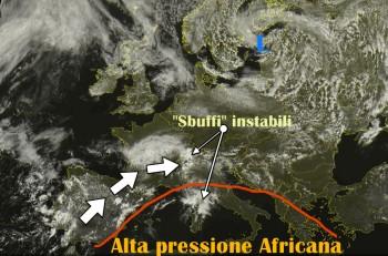 Primi temporali al Nord, l'Atlantico irrompe nel Mediterraneo