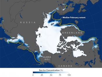 Banchisa artica ai minimi storici nel mese di febbraio, il paradosso del gelo europeo