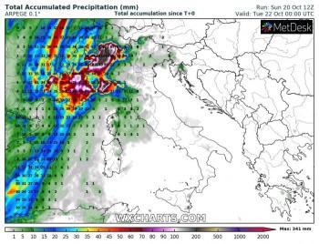 Forti piogge sulle regioni nord-occidentali: attesi fino a 400 mm di precipitazione sulle Alpi